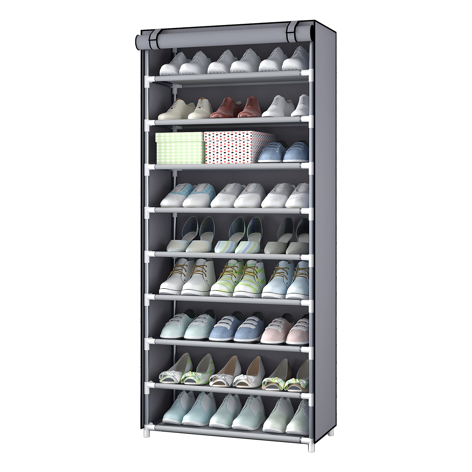 Simple Non-Woven Fabric Shoe Storage Organizer Rack <strong>Holder</strong> Cabinet <strong>Steel</strong> Frame Plastic