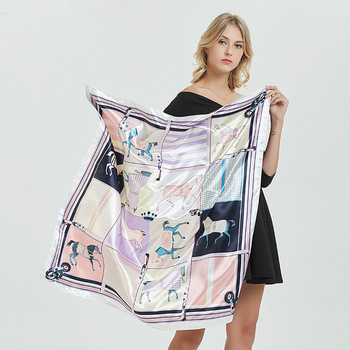 Wholesale digital print Custom design 100% Silk Satin Ladies Scarf