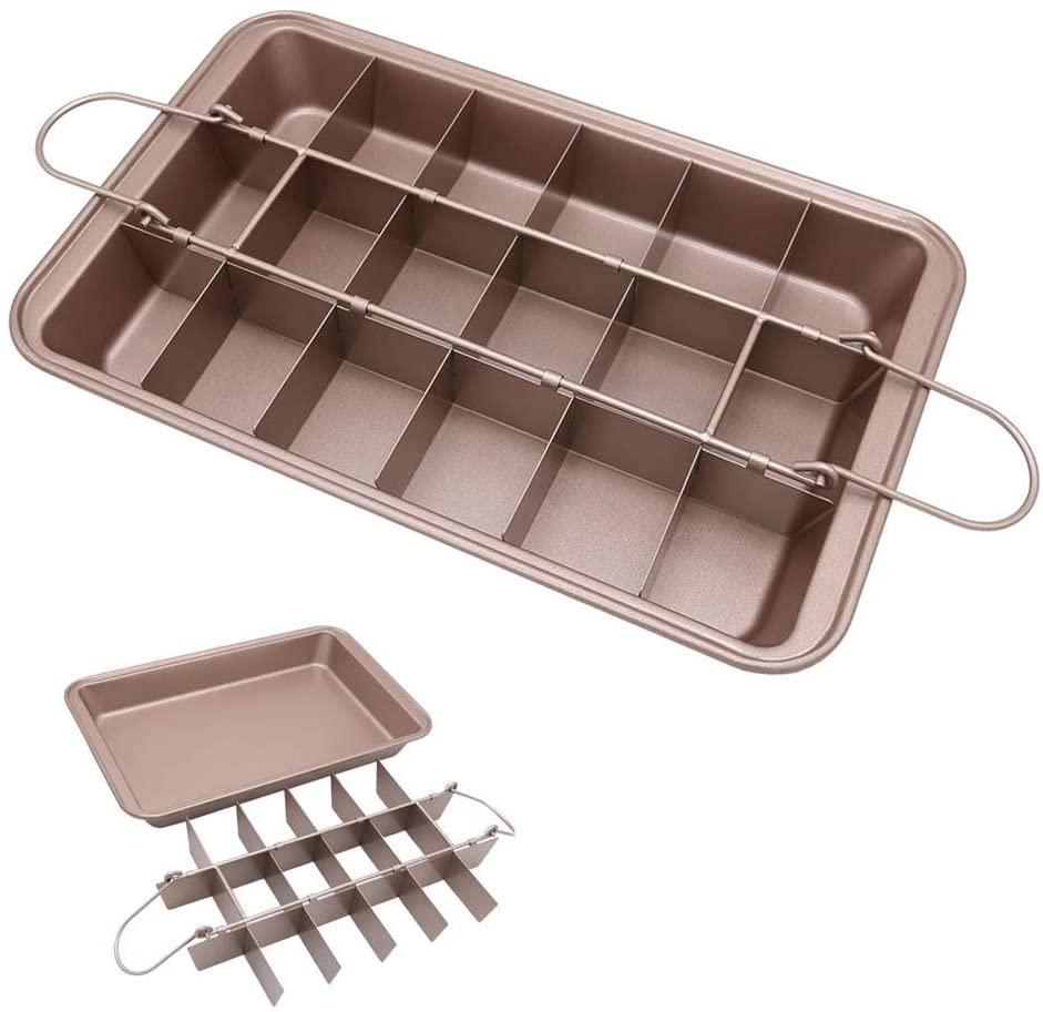 Amazon — poêle à Brownie en or Rose, 18 ustensiles de cuisson en acier au carbone pré-trancher pour four avec fond amovible, offre spéciale
