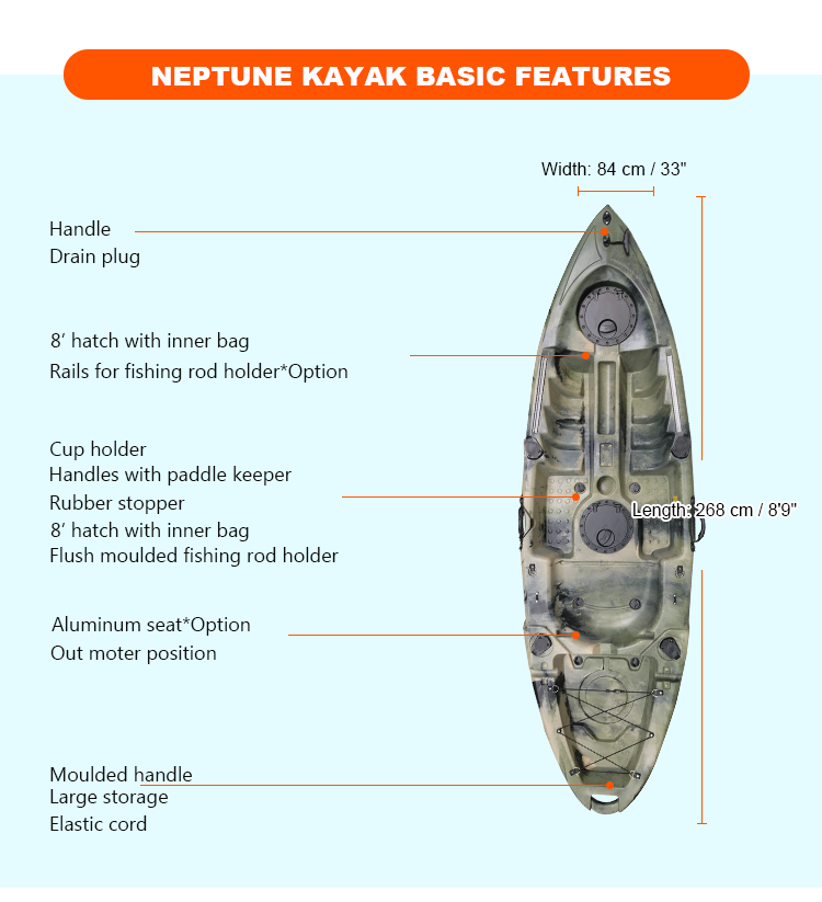 LLDPE Hull Material And 2.68m Length (m) Kayak Boats Sale