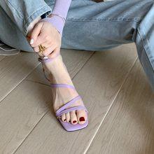 Женские сандалии в римском стиле, фиолетовые кожаные сандалии на толстой подошве с одной надписью, сказочные сандалии с пряжкой, 2020(Китай)
