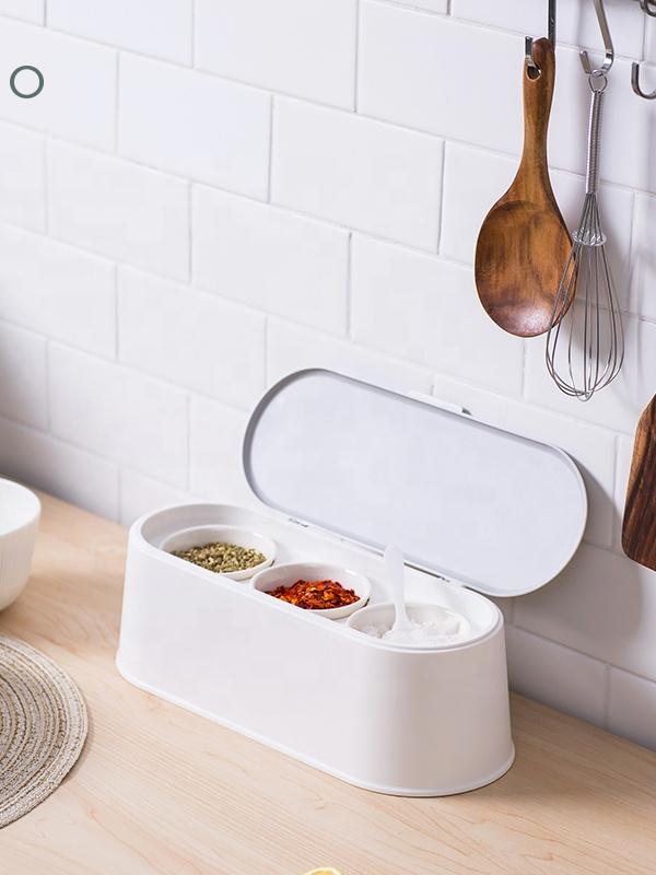 EasyLife 3 PCS Spice Jars innerhalb Plastic Box und Flip Lid Spice Jar Ceramic Spice Canisters Set für Kitchen