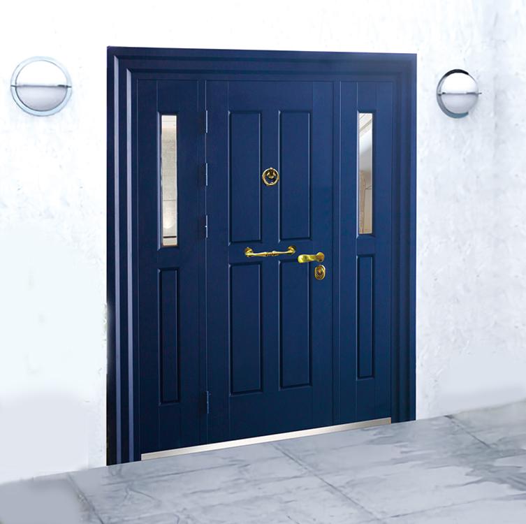 Modern Main Door Design Luxury  Villa Front  Double Swing Steel Door with Side Light