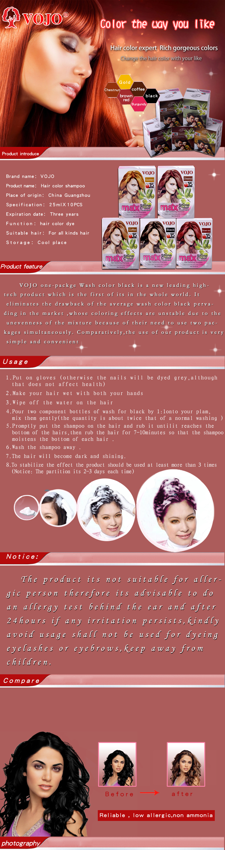 2021 VOJO permanent hair spray hair dye temporary washable hair color shampoo