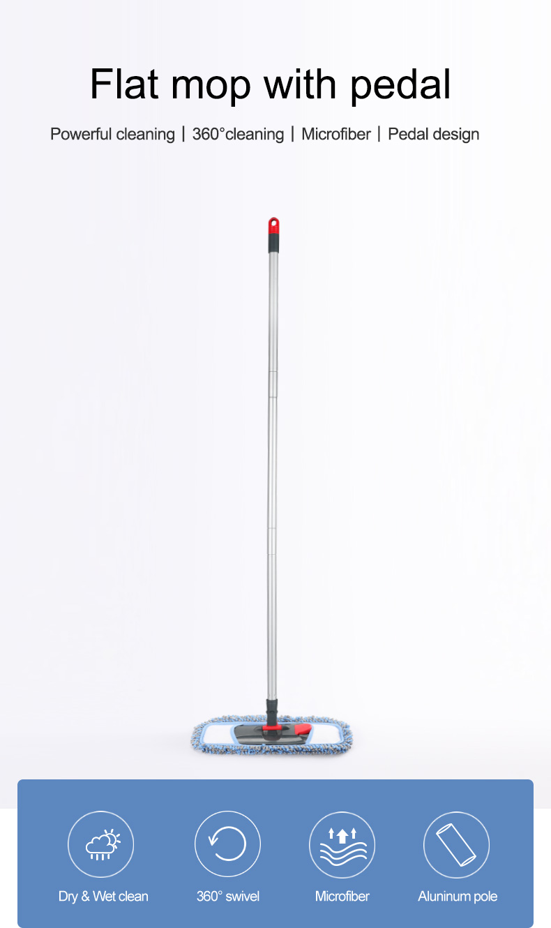 BOOMJOY 360 swivel household microfiber flat mop with pedal dry&wet cleaning flat mop