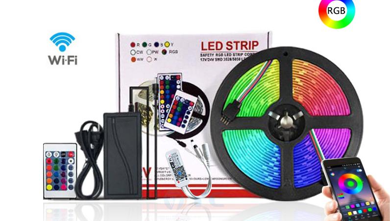 ร้อนขายผลิตภัณฑ์ 16.4ft RGB SMD 5050 Led Strip LightกับรีโมทDC12Vกันน้ำIp65 ในร่มตกแต่งแสง