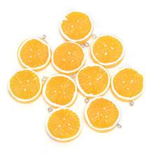 10 шт. милые плоские Подвески из смолы с лимоном для украшения фруктов DIY серьги, брелок для телефона аксессуар(Китай)