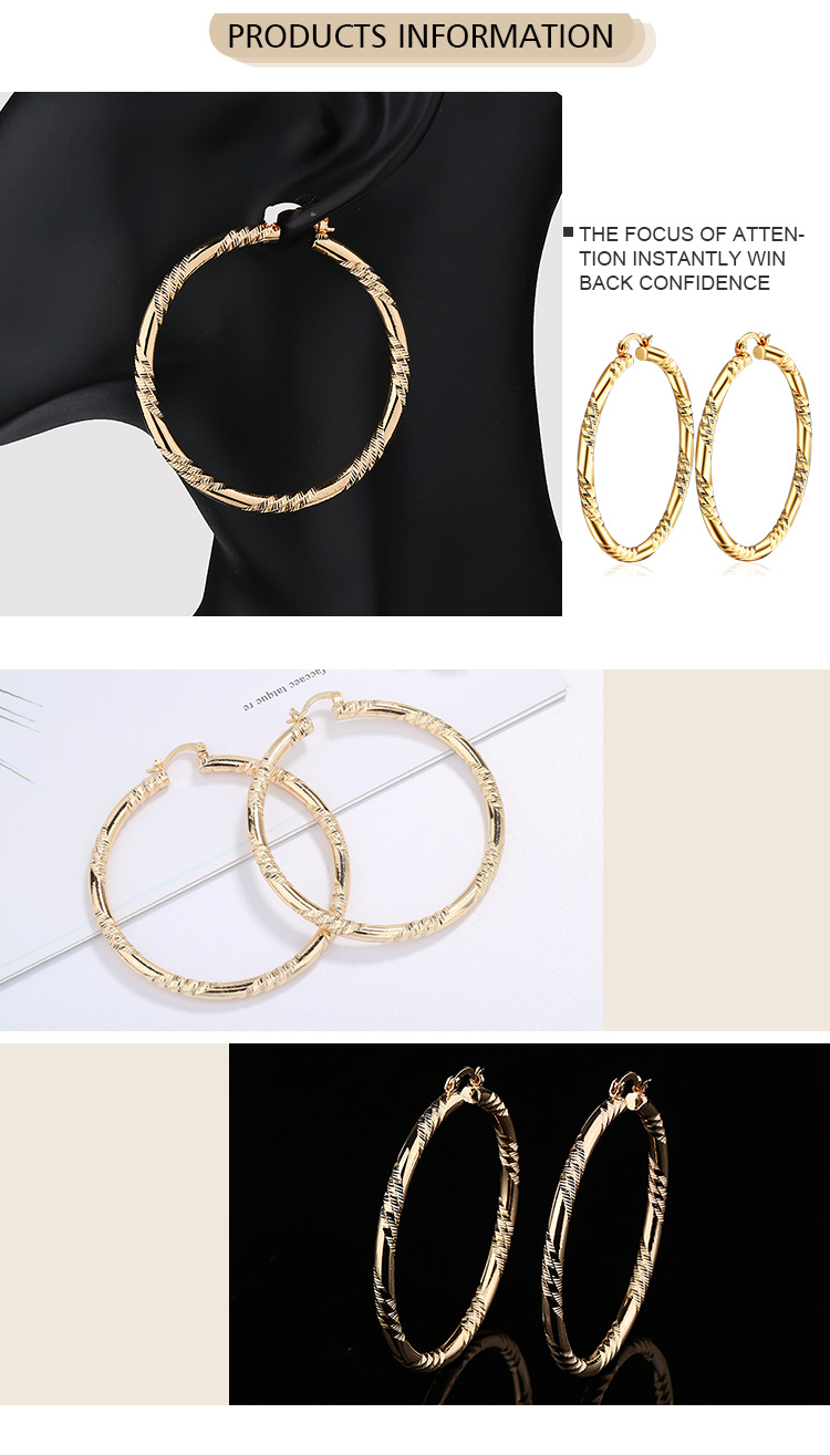 India Gold Earrings Fashion Trendy Daily Wear Gold Twist Hoop Earrings Designs For Girls