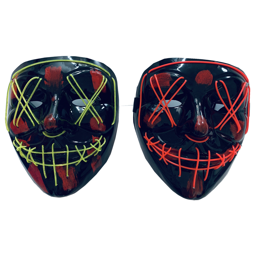 Glowing Mask Custom Party Mask Halloween El Flashing Neon Led Mask Plastic Purge Rave Party