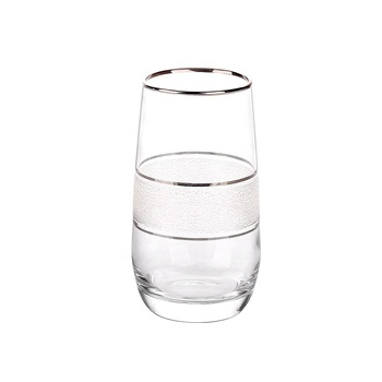 375 ml Customized high quality ion plating glass water tumblers with gold