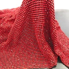 S114 red 45*120cm cuttable Glass Rhinestone Mesh Fabric Sheet Craft Material Metal crystal mesh for Clothing Bag Making