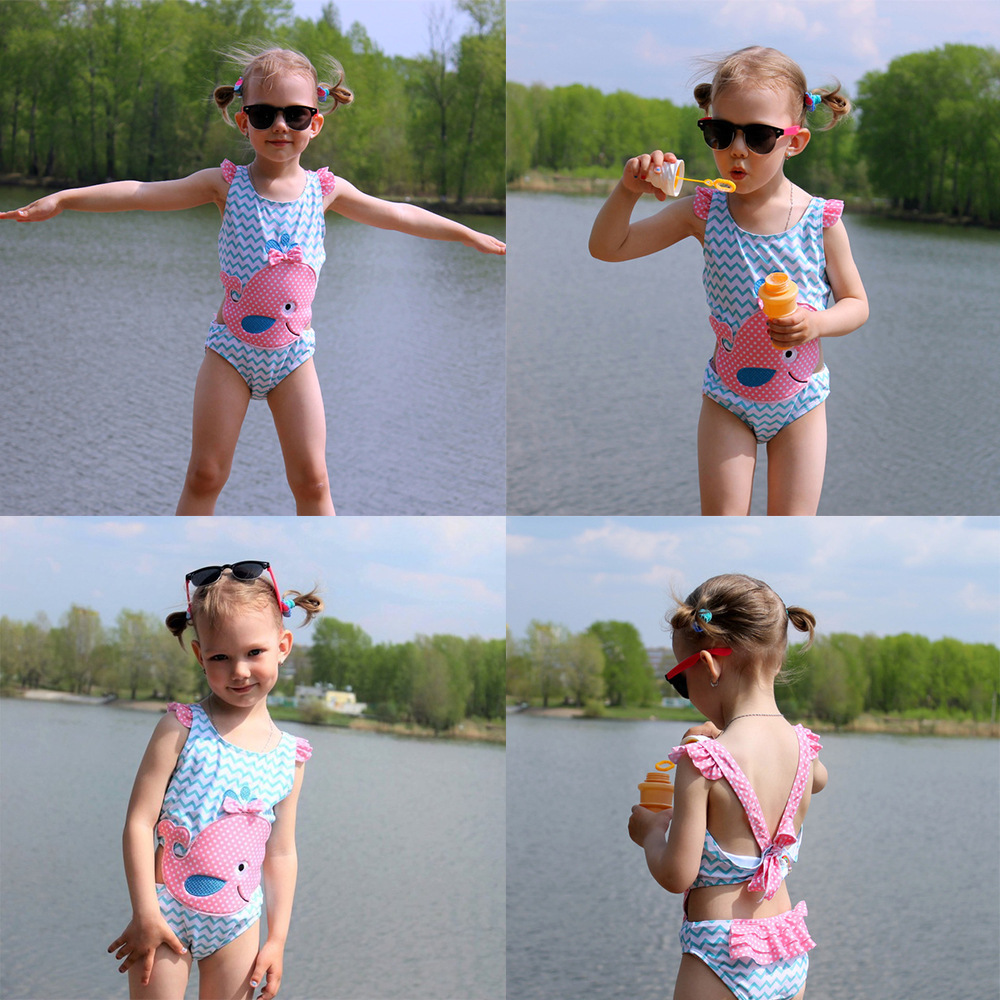Factory hot sale patches embroidery swimsuit kid little girl chica bikini transparente