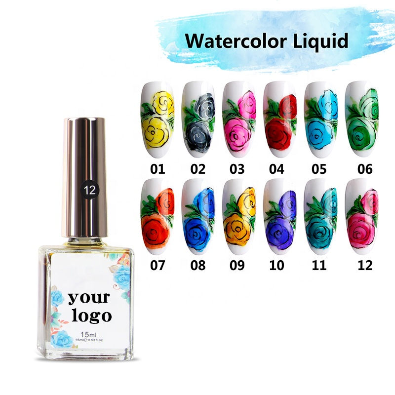 Watercolor Liquid Nail Art Blooming Marble Ink OEM <strong>gel</strong>