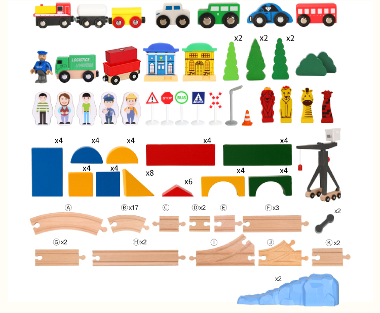 2020 New design wholesale wooden train set track Building Blocks wooden magnetic cars truck compatible with Thomas BRIO