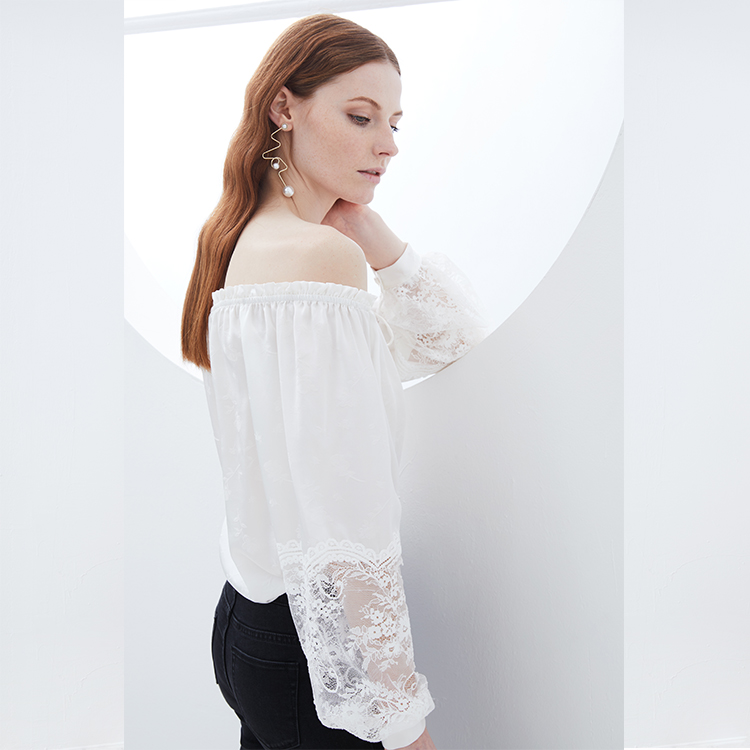 Europese sexy vrouw shirts perspectief off shoulder top fashion vrouwen kleding