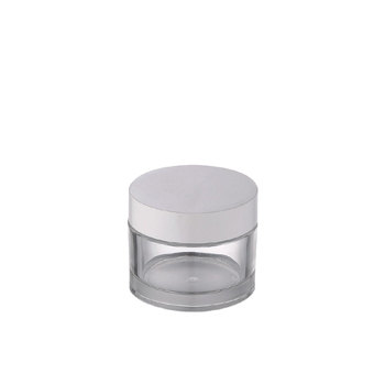 new design 1oz 50g skin care clear plastic cream jar with white lid