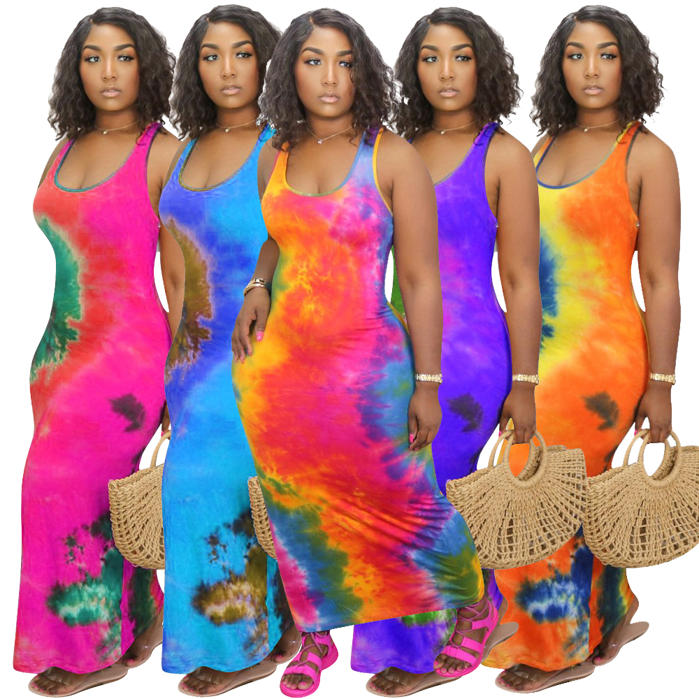 H1352  2020 summer new women's wear hot selling fashion tie-dye large size sexy dress