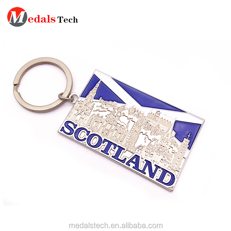 Custom aluminum engraved logo square card  metal  keychain