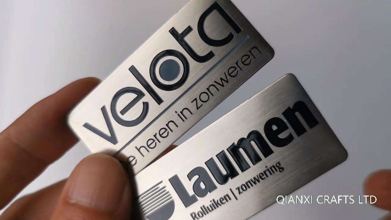 Acid etched stainless steel brass nameplate Laser etch engraved die cut label sticker