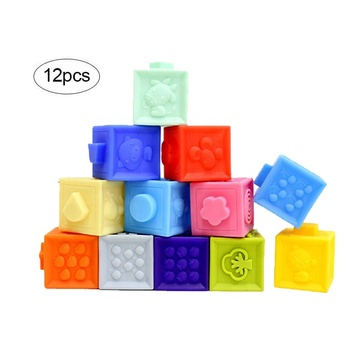 JOE'S TOUCH Eco Friendly Soft Squeeze Stacking Building Blocks Sensory Educational Infant Toddler Baby Toy
