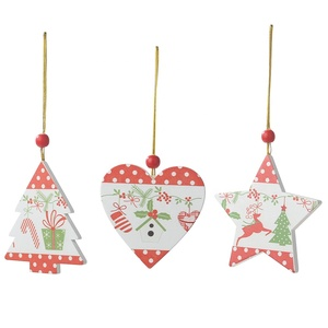 Indoor Christmas wooden hanging ornaments printed pendant wood christmas tree decoration