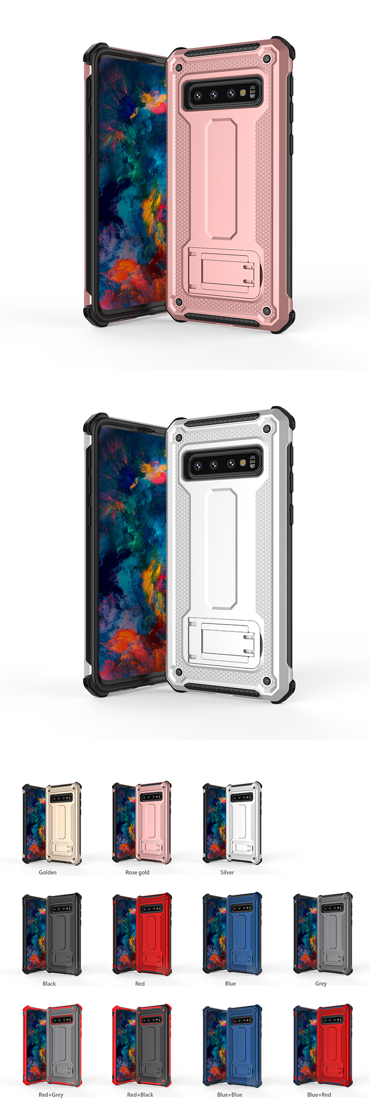 High quality 2 in 1 rugged shockproof armor phone case cover for samsung galaxy s8 / s9 / s10