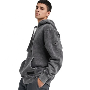 Fashion streetwear men oversize vintage acid washed grey hoodie