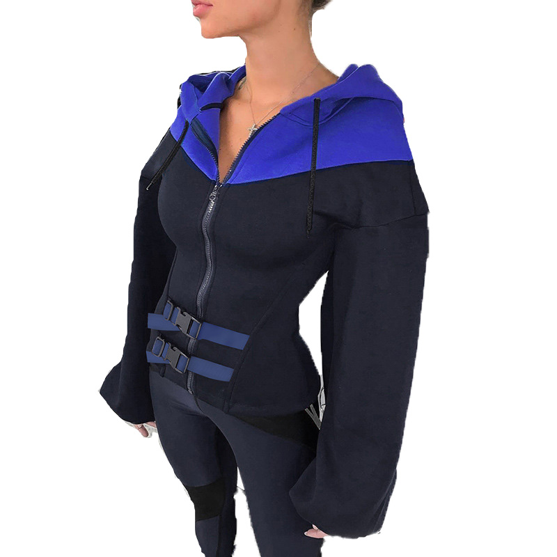 Women Autumn Big Sleeve Button Hoodie Sweatshirts Tops Zipper Hooded with hoody