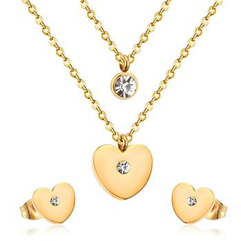 Stainless Steel Gold Plated Heart Wedding Jewelry Sets For Bride Guangzhou Fashion wedding jewelry sets dubai bridal