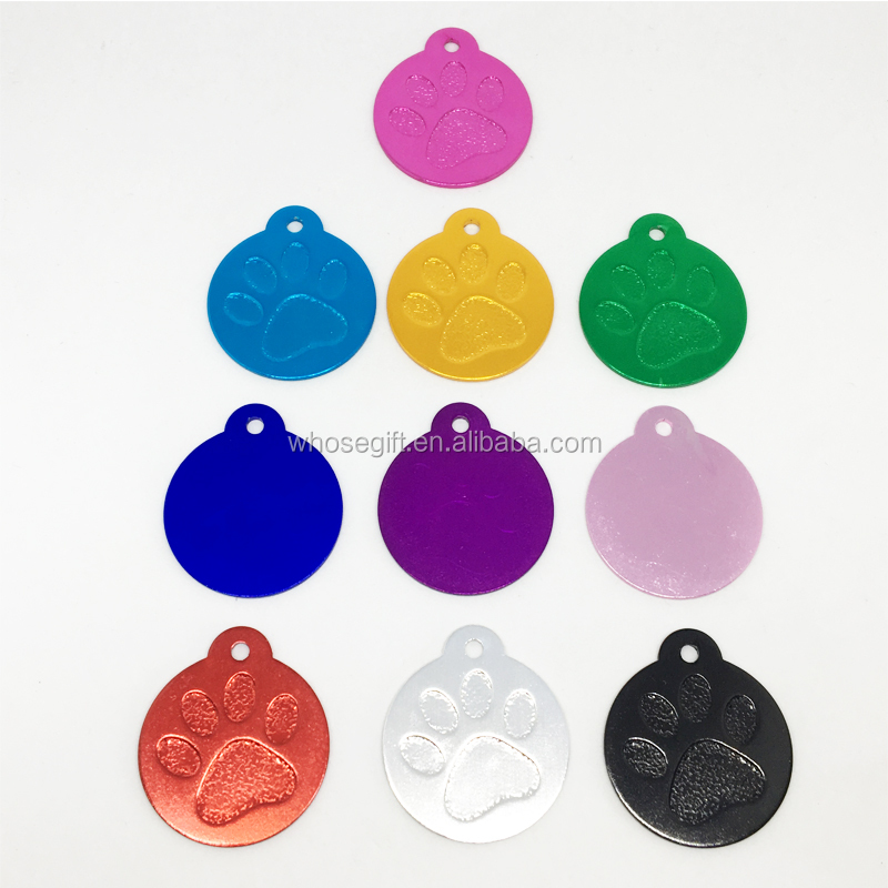 circle shape dog tag with paw image/aluminum circle pet tags