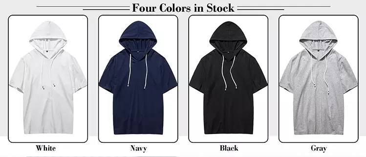 2020 Hot  Manufacture Wholesale Mens Blank 100% cotton Short Sleeve hoodie High Quality Plain Custom Logo Printed