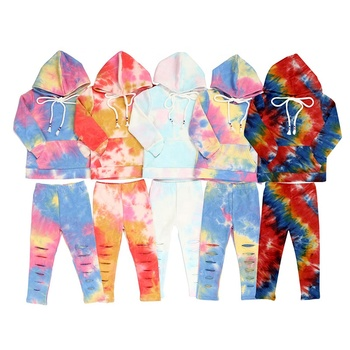 Wholesale tie-dye elastic kids clothing sets with hat hot sale baby clothing sets kids clothing sets baby girl clothes