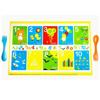 Disposable Educational Designs with Animals Baby Placemats Portable BPA Free and Extra Sticky Restaurant Table Mats