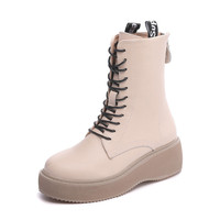 Genuine Leather Female Martin Boots Platform Lace-up wedge women's autumn boots
