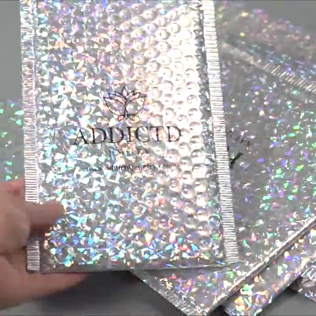 In stock Custom print various size holographic bubble mailers custom bubble mailer