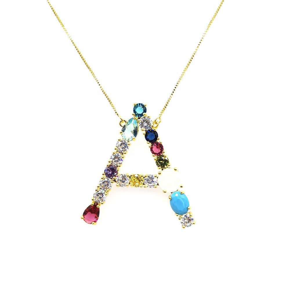 Queenie Jewelry 2019 Best Selling Rainbow Jewelry Gold Plated Letter Necklace For Women фото