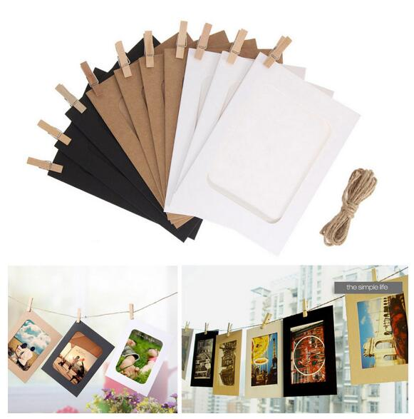 10PCS DIY Paper Photo Frame Wooden Clip Paper Picture Holder Wall Decoration Hanging Wall Picture Album Wedding Home Decoration