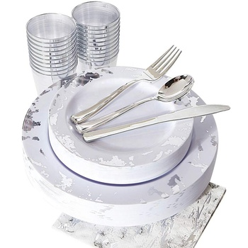 175pcs Best Price Holiday Clear Disposable Plastic Dinnerware sets