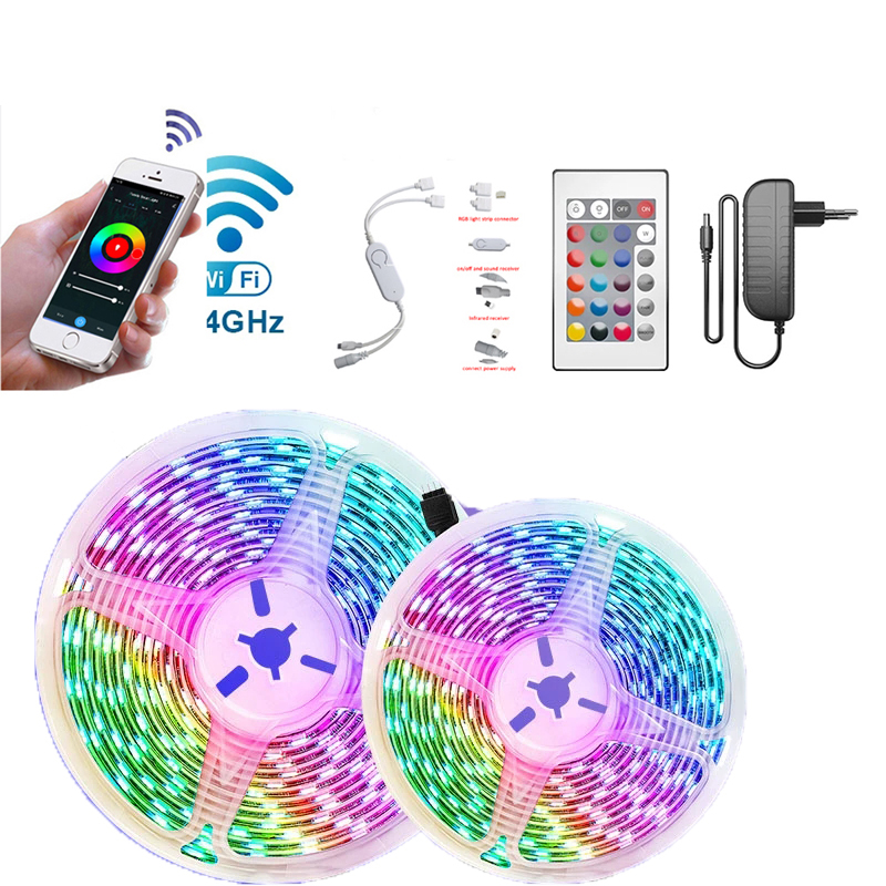 Best price 5050 RGB LED Strip Light 12V 5m/roll 30 LEDs SMD IP20 IP65 Waterproof Flexible Light Strips wifi controlled