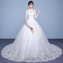 Женское роскошное свадебное платье с открытыми плечами, свадебные платья на шнуровке, vestido de noiva/платье для свадьбы/robe de mariee(China)