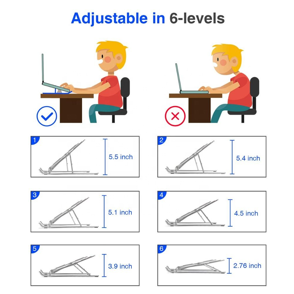 Ergonomic Flexible Folding Height Adjustable Aluminum Foldable Portable Adjustment Desktop Laptop Notebook Holder Riser Stand Ergonomic Flexible Folding Height Adjustable Aluminum Foldable Portable Adjustment Desktop Laptop Notebook Holder Riser Stand