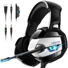 Onikuma USB Gamer <span class=keywords><strong>Cuffie</strong></span> PS4 Wired Stereo Gaming Headset per Xbox One PS4 PC con Il Mic LED Logo Personalizzato