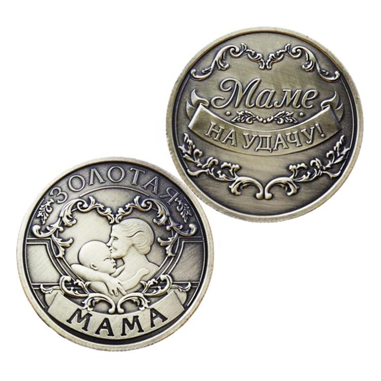 Fan Shu özel rus anneler günü anne antik altın bronz para Mame hatıra paralar