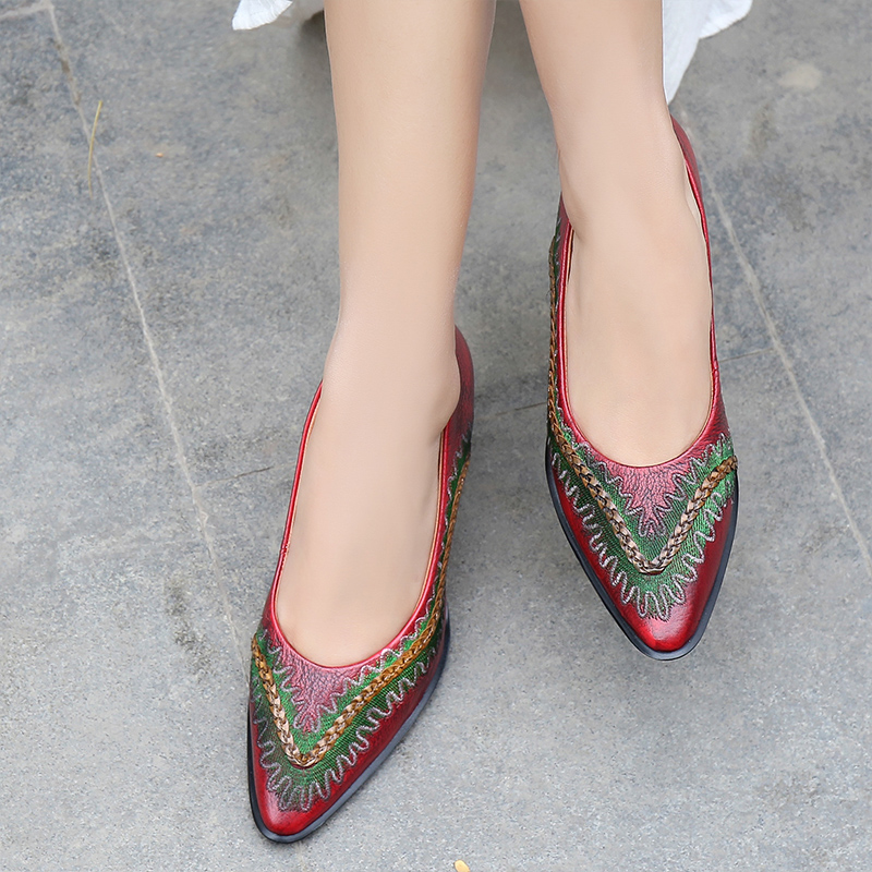 2020 Vintage Hand Made Women Shoes Heel Ladies Sandals Women Slip On Shoes