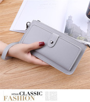 LIOU Hot selling High quality Solid color PU leather women long purse