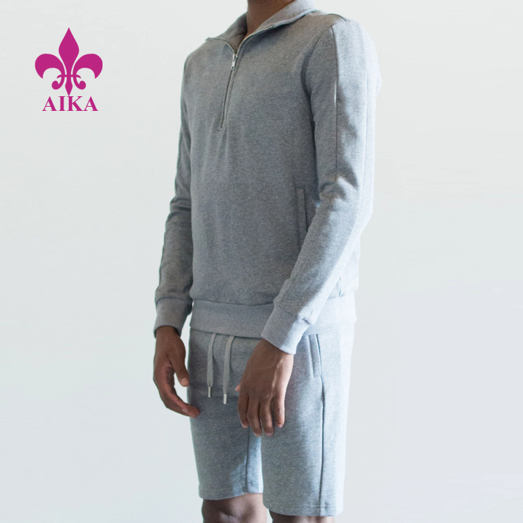 New Spring Casual Design Cotton Comfort Half Zip Long Sleeve Polo Shorts Men Sports Sweat Suits