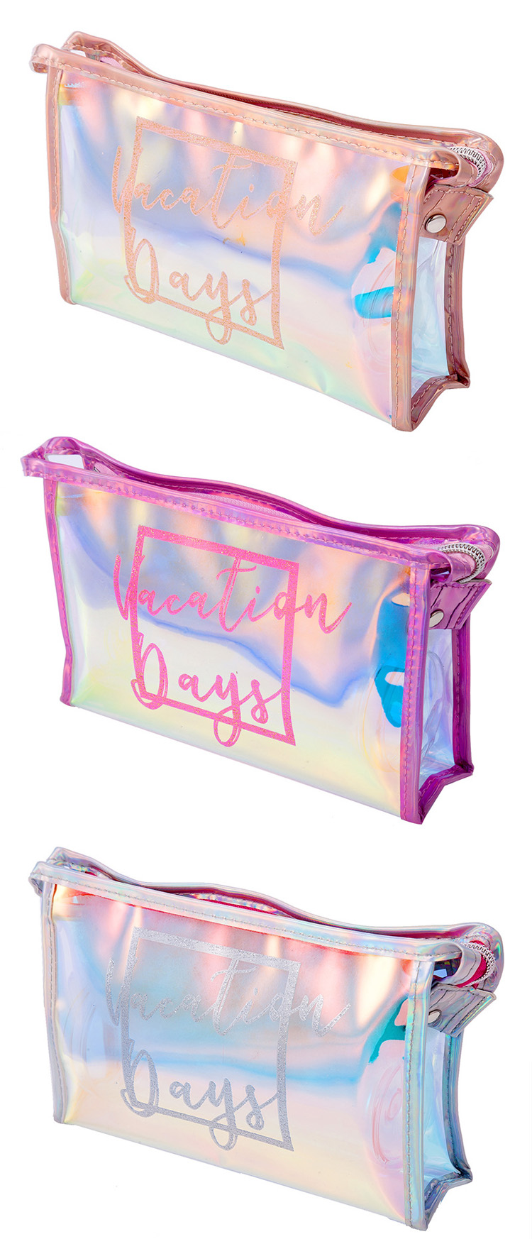 Laser logo plastic pvc pink jelly sparkles glitter iridescent holographic clutch women travel toiletry makeup cosmetic bag