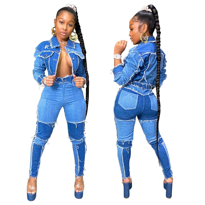 Venta Al Por Mayor 2020 De Alta Cintura Pantalones Skinny Deshilachados Chaqueta Azul Mosaico Damas Jeans Tela De Mezclilla Traje De Chaqueta Para Mujer Buy Pantalones Vaqueros De Cintura Elastica Vaqueros De