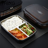 FDA metal food grade thermal stainless steel lunch box bento leak proof compartment
