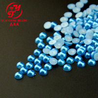 factory price light blue plastic abs half pearl beads